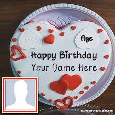 happy birthday cake with name and photo