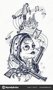 Santa Muerte Dívka Elektrická Kytara Růže Hudební Poznámky Tetování