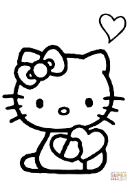 Hello Kitty Colring Sheets Coloring Pages Hello Kitty With Heart Coloring Page Free
