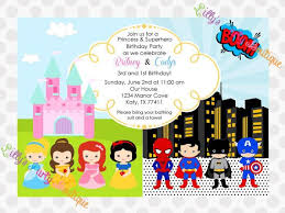 superheroes party invites princess and superhero party invitations cimvitation