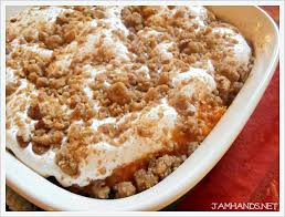 sweet potato casserole recipe with marshmallows and pecans. Plain Potato Sweet Potato Casserole With Marshmallow U0026 PecanStreusel In Recipe With Marshmallows And Pecans L