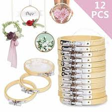 new 12 pieces 3 inch round wooden embroidery hoops set cross stitch hoop ring