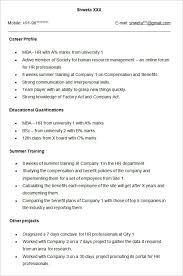 Resume Example For Freshers Fabulous Career Objective Mba Hr Fresher
