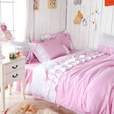 pink ruffle bedding romantic pink queen comforter set pink ruffle fairy duvet cover set twin size girls pink ruffle bedding set