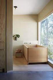 a hinoki wood bathtub in the rudolph schindler designed hollywood hills home of designer pamela