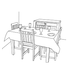 kitchen table clipart black and white. dining room_coloring page kitchen table clipart black and white l