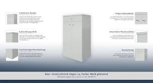 Bad Unterschrank Hapur 14 Farbe Weiß Glänzend 83 X 49 X 32 Cm