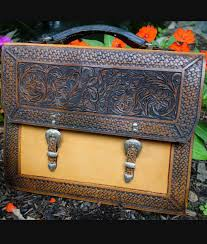 tooled leather briefcase with double buckles unique rustic chic from rusticartistry com