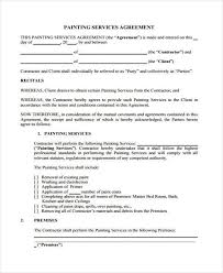 7 service contract agreement form samples free sample example painting contract agreement sample
