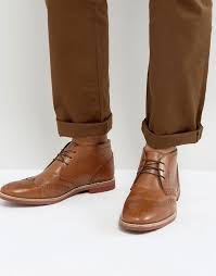 brown leather desert boots asos brogue chukka boots in tan leather