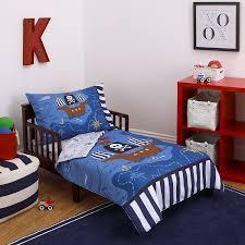 little tikes 4 piece pirates toddler bedding set blue red black 52 x28