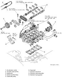 cylinder head 3 cylinder head assembly exploded view 1995 97 protege 1 5l z5d engines