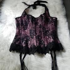 Fredericks Pink Black Lace Halter Corset