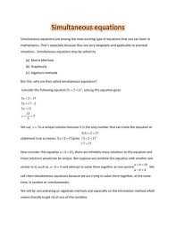 simultaneous equations picture