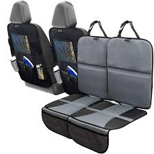com car seat protector set with tablet holder kick mat cover 4 pack thickest padding 2 sets of car seat protectors and kick mat backseat