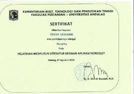 Sertifikat Pelatihan Sertifikat Pelatihan Mendeley Document Repository