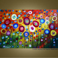 CUSTOM Dancing Poppies Original Modern Abstract by fineartsale - great  painting for a girls room.