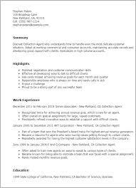 collection agent resume professional collection agent templates to showcase your talent