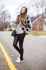 of style faux fur jacket leather pants