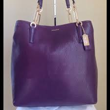 ... COACH Madison NorthSouth Tote LeatherBlackViolet