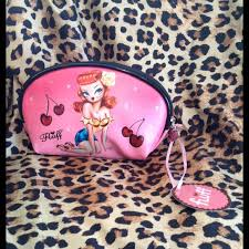fluff pin up cosmetic bag