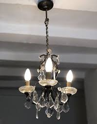 antique french brass chandelier petite 3 arm ceiling light crystal prisms