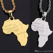 whole unique design silver gold african map pendant necklace 18k gold plated chain long necklace mens jewelry party gifts charm bracelets necklaces from