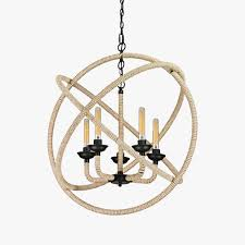 hampton round rope wrapped chandelier