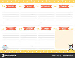 Cute Weekly Planner Drawn Cat Dog Template Place Notes Vector