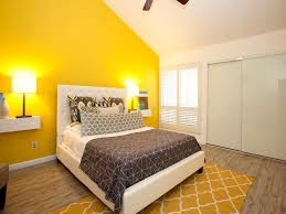 bedroom sleek yellow accent wall loft with queen and geometric rug cherry wood floor mustard grey decor dining room ideas feature colours accents paint