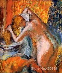 portrait artist edgar degas after the bath woman drying her hair oil painting high quality hand