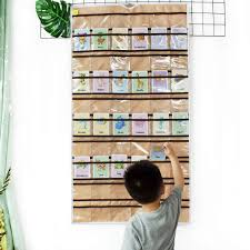 60 Classroom Pocket Chart Pockets Hanging Jewelry Organizer Earrings Holding With Hanger Closet Storage Coffee