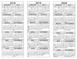 Year To Year Calendar 2018 2019 2020 3 Year Calendar