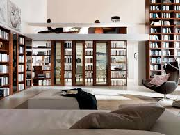 Decorations:Great Diagonal Style Bookshelf Design Idea For Home Library  With Black Stand Lamps Contemporary