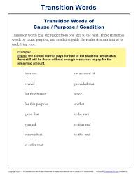 transition words and phrases lists and worksheets kreader transition words list cause purpose and condition