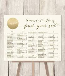 Seating Chart Wedding Sign Alphabetical Seating Chart Sign Diy Gold Sparkle Wedding