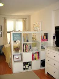Especially in a smaller space, room dividers done right are critical. Using  a bookcase means you get a divider but you also have lots of space too.
