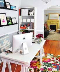 unique home office ideas. Unique Colorful Floral Rug And White Desk For Creative Ideas Home Office With Decorative Wall Arts E