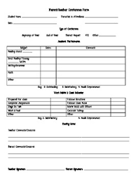 Parent Teacher Conference Form Template Conference Sheets For Teachers Magdalene Project Org