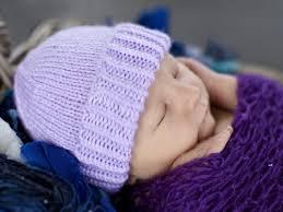 Plain And Striped Newborn Purple Hat Halifax Charity Knitters