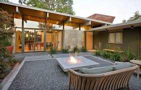 bluestone cap patio midcentury with square fire pit san francisco