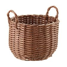 Round Plastic Wicker Storage Bin with Handles