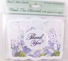 Details About Carol Wilson 10 Thank You Card Lace Borders Stationery Purple Flora Flower New