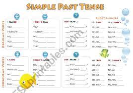 Simple Past Grammar Chart Esl Worksheet By Kujbusildiko
