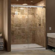 framed sliding shower doors. Semi-Frameless Sliding Shower Door In Brushed Nickel With Right Drain Acrylic Base-DL-6940R-04CL - The Home Depot Framed Doors R