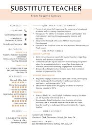 Example Teaching Resumes Substitute Teacher Resume Example Template Teaching Resume
