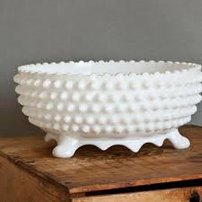 large fenton hobnail footed bowl milk glass scalloped edge wedd