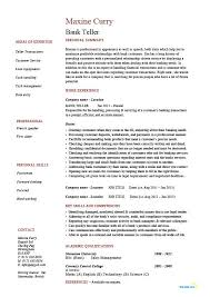 Bank Resume Template Interesting Resumes For Bank Teller Resumes For Bank Teller