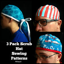 Scrub Cap Pattern Adorable Scrub Hat Sewing Pattern DIY Men's Unisex By ADesignbyAngie On