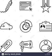 Set Of 9 Simple Editable Icons Such As Profile Loudspeaker